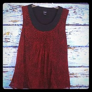 Rafaella Black & Red Sleeveless Blouse Size Large